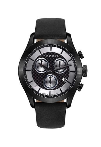 ESPRIT black Esprit Jam Tangan Pria - Black - Leather Strap - ES108411002 ES347AC0V50DID_1