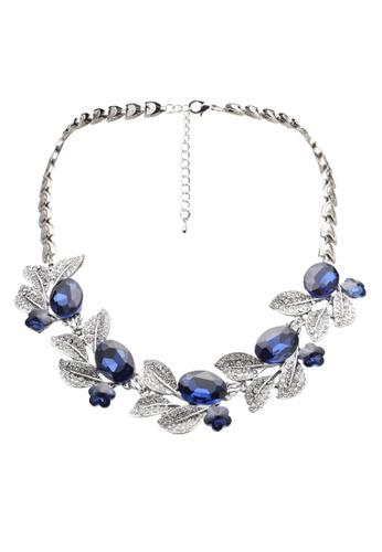 Dandelion blue Rhinestone Diamante Leaf & Flower Necklace DA944AC0SO6QMY_1