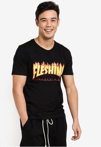Flesh IMP black Flaming Flesh Imp Tharasher T-Shirt FL064AA87WYUMY_1