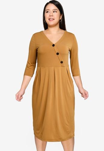 OVS brown Curvy Crossover Dress DD713AA4DC0424GS_1