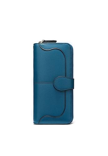 Twenty Eight Shoes blue VANSA Cow Leather Bi-Fold Long Wallet VBW-Wt8855 781C3ACA163F17GS_1