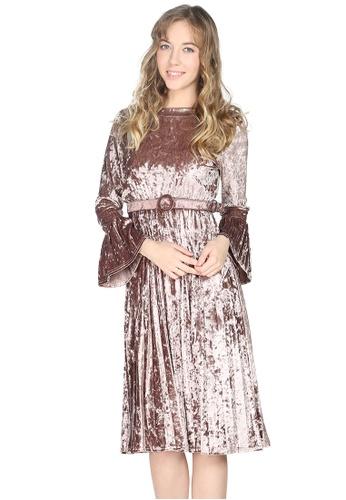 London Rag gold London Rag Womens Full Sleeve Rose Gold Velvet dress LO360AA0GQ3VSG_1