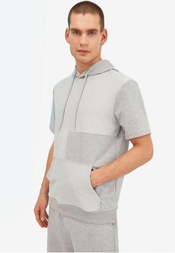 Trendyol grey Regular Fit Short Sleeve Hoodie 0DCE0AA6E7897AGS_1
