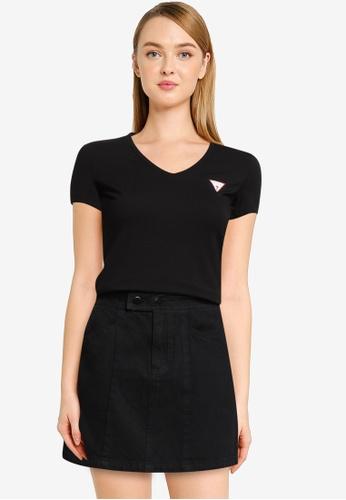 GUESS black Short Sleeve V-Neck Mini Triangle Tee 49C6BAA6AD408AGS_1