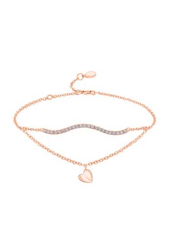MaBelle red 18K 750 Rose Gold Diamond Wavy Bar and Heart Bracelet C190EACD507E73GS_1