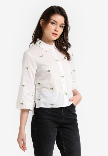Zalia white Embroidered Wide Sleeve Shirt 70D4BAA2FD3731GS_1