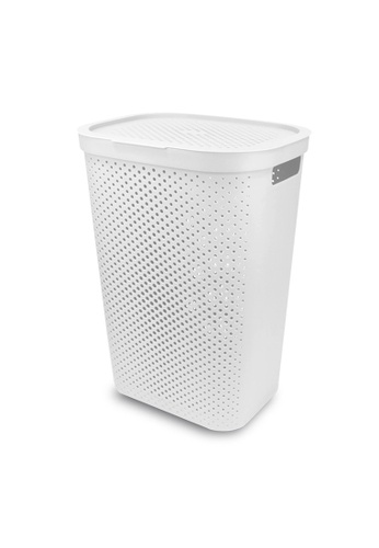 HOUZE white HOUZE - 60L Polka Dots Tall Laundry Basket (White) 932B4HL6FC8F84GS_1