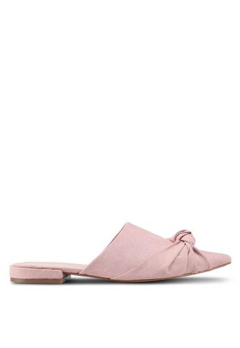 Public Desire 褐色 結飾懶人穆勒鞋 3B363SHC1F0352GS_1
