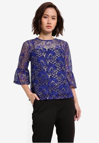 Dorothy Perkins blue Cobalt Lace Flute Sleeve Top DO816AA0RI8FMY_1