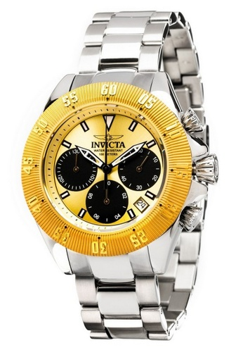 INVICTA silver and gold Invicta Speedway Men 48mm Case Silver Stainless Steel Strap Black, Gold Dial Quartz Watch 22398 w/ Cap IN968AC0FEYPSG_1
