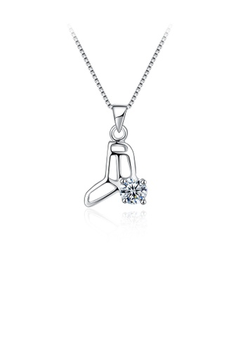 Glamorousky white 925 Sterling Silver Elegant Fashion Crystal Shoes Pendant and Necklace with Cubic Zircon 195D6ACB382041GS_1