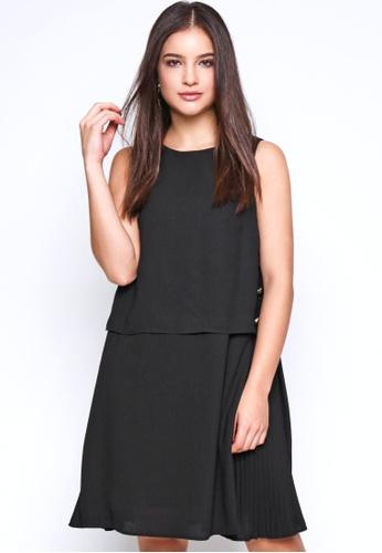 Nichii black Pleated Dress with Top Overlay E9081AA2BDBC56GS_1