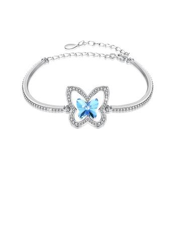 Glamorousky white 925 Sterling Silver Elegant Blue Butterfly Bracelet with Austrian Element Crystal 631EDAC06E291EGS_1