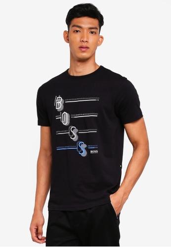 BOSS 黑色 短袖印花T恤 5095FAA1925CB4GS_1