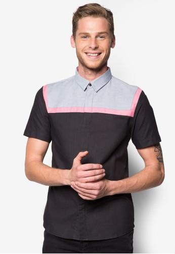 撞esprit台灣色拼接短袖襯衫, 服飾, 印花襯衫