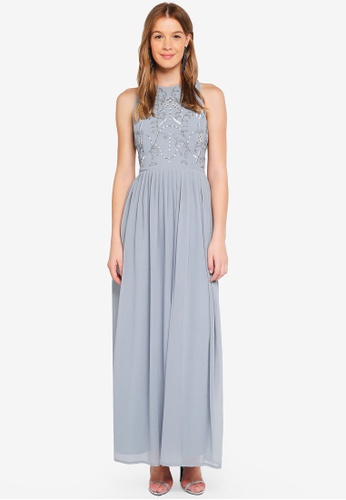 Angeleye grey Grey Sleeveless Embellished Dress 7A1ABAA20687FCGS_1