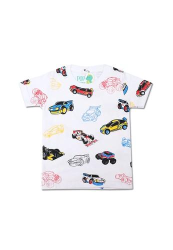 Pop Kidswear white Pop Kidswear Racing Cars Kids Tee 1275DKA034EA6FGS_1