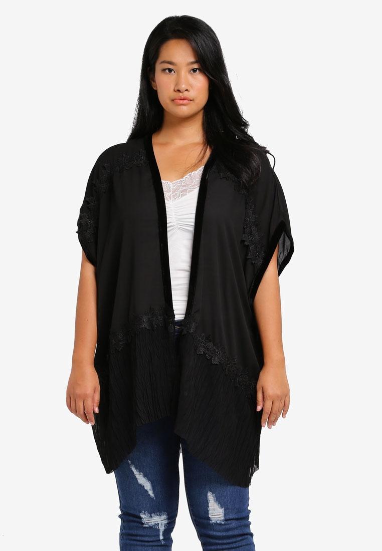 Pleated Kimono LOST Hem Plus INK Size PLUS With Black rPOOYxwI