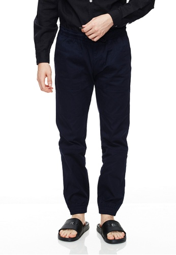 Life8 blue Casual Elastic Comfortable Jogger Pants -02495-Deep Blue 4CBB8AAE8B7D40GS_1