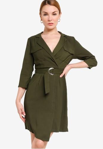 ZALORA WORK 綠色 Patch Pockets Detail Dress 22405AA25177D1GS_1