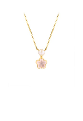 Glamorousky pink 925 Sterling Silver Plated Gold Simple Temperament Cherry Blossom Freshwater Pearl Pendant with Cubic Zirconia and Necklace C119BACE9C5519GS_1