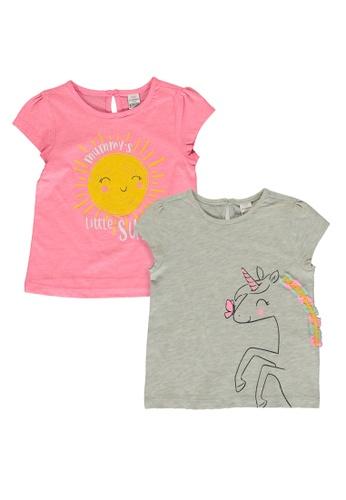 LC Waikiki grey 2-Pack Baby Girl Printed T-Shirts F4DD6KACD09654GS_1