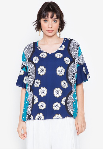 F.101 blue Printed Bell Sleeve V-Neck Blouse 78246AAEA04010GS_1