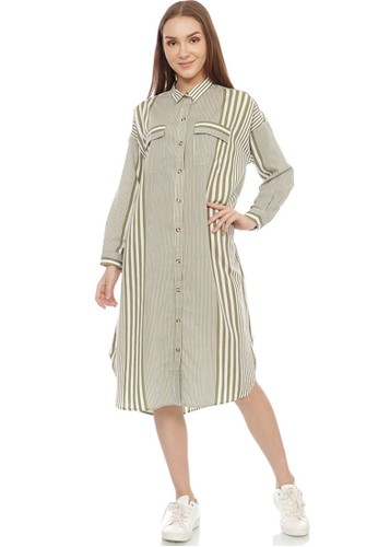 GRAPHIS green Engineering Stripe Dress E53A2AA70702ABGS_1