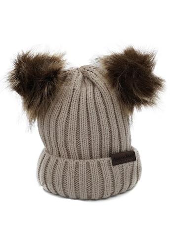 Akarana Baby brown Baby Beanie Double Faux Fur Pom-Pom (Khaki) 312A4KC833D39AGS_1