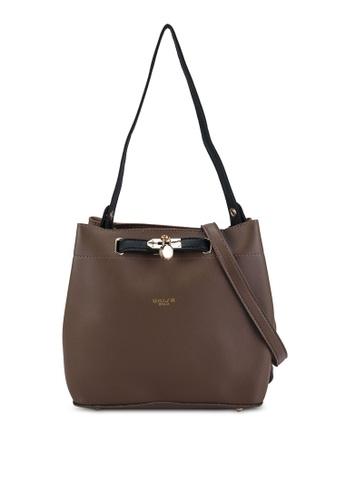 Unisa brown Colour Block Faux Leather Top Handle Bag 94698AC75359D8GS_1