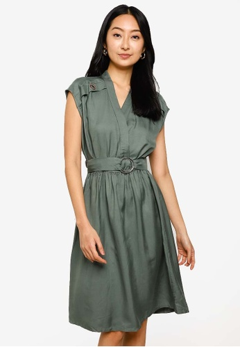 Hopeshow blue Sleeveless V-Neck Midi Dress with Belt 9ECB7AAFCA5637GS_1