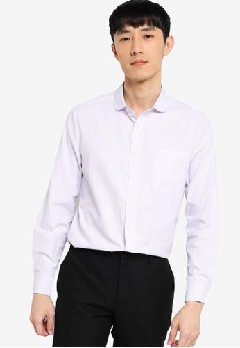 ZALORA BASICS white and purple Regular Fit Club Collar Shirt DD193AA814D77DGS_1