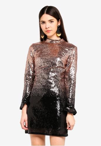 Lipsy black and gold Black Sequin Dress 709F9AA265E2B4GS_1