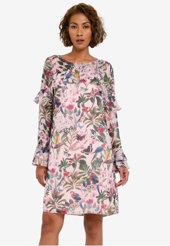 Wallis pink Stone Parrot Print Ruffle Shift Dress WA800AA0RZHIMY_1