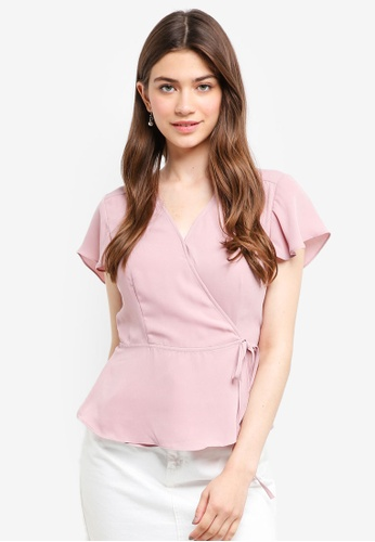 Something Borrowed pink Flutter Sleeves Wrap Top 8DFA1AAA3166A3GS_1
