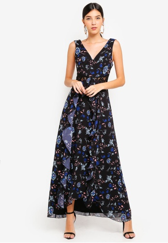 Little Mistress black and multi Mixed Print Gown 1F53FAAD545A32GS_1