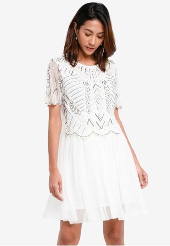 Miss Selfridge white Moon Mini Skater Dress 939D6AAD99975DGS_1