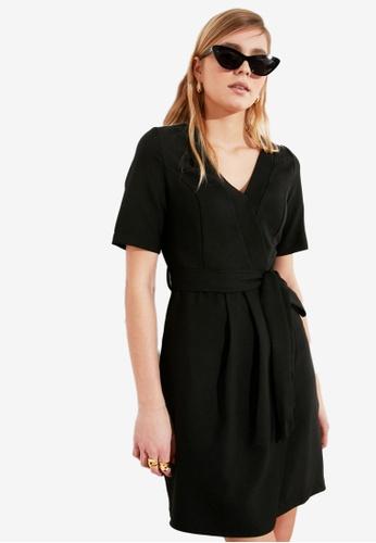 Trendyol black Tie Waist V Neck Wrap Dress 71E87AA391E6DCGS_1