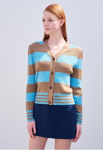 TAV [Korean Designer Brand] Cat Cardigan  - Beige&Blue 888DBAA1C9241CGS_1