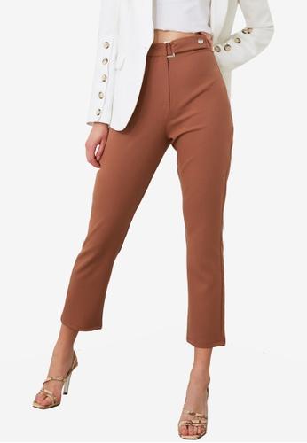 Trendyol brown High Waist Belt Detail Pants A4086AAE1B36E8GS_1