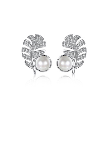 Glamorousky white 925 Sterling Silver Leaf Stud Earrings with Austrian Element Crystals and Fashion Pearls 31957ACD40DDFBGS_1