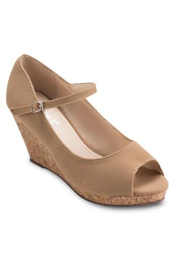 扣環踝帶露趾楔型跟鞋, 女鞋, 魚口esprit 台中楔形鞋