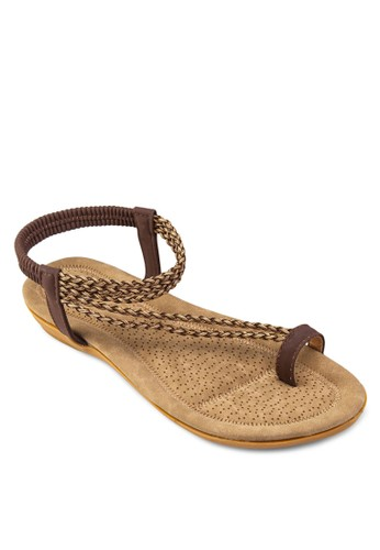編織帶夾趾繞踝涼鞋,esprit tst 女鞋, 鞋