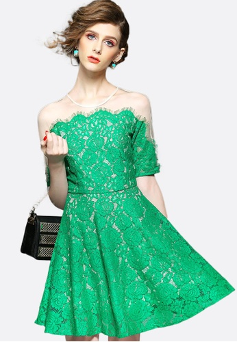 Sunnydaysweety green Green Lace See Through Shoulder One Piece Dress K200414 4F0C2AA6057656GS_1