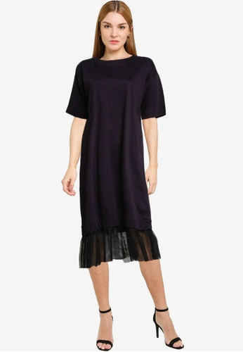 LOWRYS FARM navy T-shirt Dress with Ruched Tulle 2CB6FAA0331806GS_1