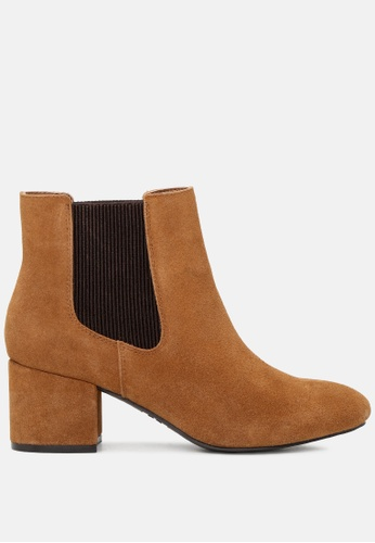 RAG&CO brown Block Heel Ankle Chelsea Boots RCSH1784 7026DSH5AD9BBAGS_1