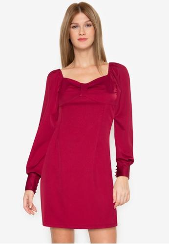ZALORA BASICS red Full Length Puff Sleeve Mini Dress DBC98AA94E4B65GS_1