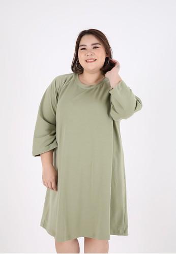 Sorabel green Curne Plain Basic A-Line Mini Dress Big Size Green 99ABEAAA12D221GS_1
