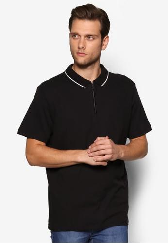 Burton Menswear London black Black Honeycomb Zip Polo Shirt BU964AA41FCKMY_1