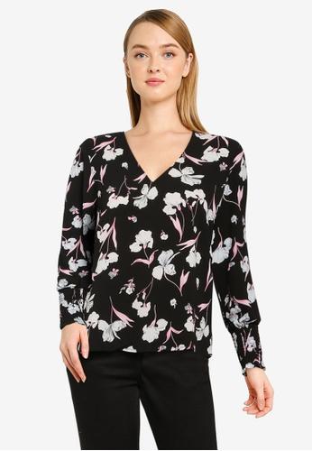 Vero Moda black Rosalita Long Sleeve V-Neck Top 4B981AA37E0181GS_1